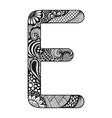 entangle stylized alphabet lace letter e vector image