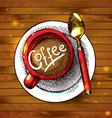 food - a cap of coffee on the wood texture vector image vector image
