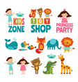 funny kids and animals vector image