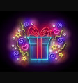 glow gift box with beautiful bow vector image vector image