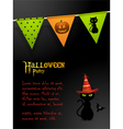 halloween black cat party background vector image vector image