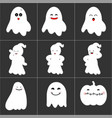 halloween cute ghost icon set vector image vector image