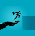 hand helping a businessman to jump higher vector image vector image