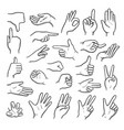 hands gestures human pointing hands showing vector image