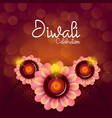 happy diwali festival floral diya greeting vector image vector image