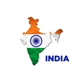 India flag map vector image vector image