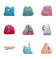 indoor climbing icon set cartoon style vector image vector image