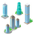 isometric modern buildings and skyscrapers vector image