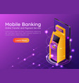 isometric web banner atm machine on smartphone vector image vector image