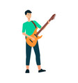 man is standing and playing on guitar with strap vector image vector image