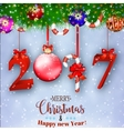 New Years background with gift vector image vector image