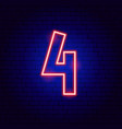 number 4 neon sign vector image