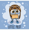 Owl in a pilot hat vector image vector image