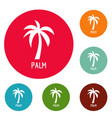 palm tree icons circle set vector image vector image