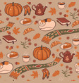 seamless pattern with cozy autumn graphic vector image vector image