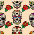 seamless pattern with mexican sugar skulls and vector image vector image