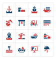 set color icons seaport vector image