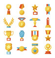 set of medals and cups awards golden sport vector image vector image