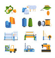 textile factory isolated icons cotton and wool or vector image