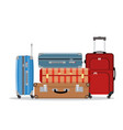 travel suitcases stacked vector image vector image