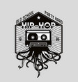 vintage music emblem octopus tentacles and audio vector image vector image