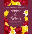 wedding flowers invitation card vector image vector image