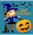 witch and pumpkin on blue background vector image