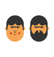 with beard and no beard before and after brutal vector image vector image