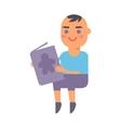 Baby kid read book vector image