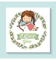 angel and flower crown icon Love design vector image