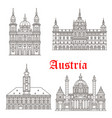 austria architecture buildings icons vector image