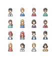 avatar outline color icons set vector image