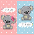baby shower greeting card with koalas boy and girl vector image