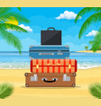 baggage luggage suitcases on tropical background vector image vector image