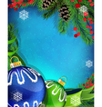 Blue and green Christmas ornaments with ribbon on vector image vector image