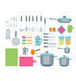 cartoon cookware color icons set vector image