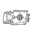 cartoon sleeping piggy sketch engraving vector image