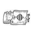 cartoon sleeping piggy sketch engraving vector image vector image