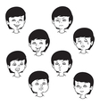 Child face emotion gestures black and white set vector image vector image