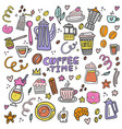 coffee time icons vector image vector image