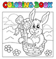 coloring book with bunny in basket vector image