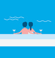 couple in love sitting by pool vector image vector image