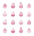 cupcakes and muffins set pink desserts vector image