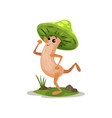 cute funny mushroom character with human face and vector image