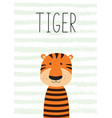 cute little tiger poster card for kids vector image vector image
