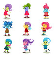 cute troll characters set happy creatures with vector image