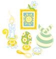 easter collection with a smiling sun vector image vector image