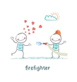 firefighter extinguishes a girl who fell in love vector image vector image