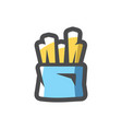 french fries pack icon cartoon vector image