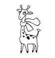 funny cartoon giraffe with scarf black and white vector image